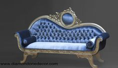 Modern Victorian Three Seater Sofa With Blue Leather Cushion And Wooden Frame Painted With Gold Color Ideas, Victorian Sofa Furniture Victorian Couch, Modern Victorian, Victorian Furniture, Victorian Decor, Antique Furniture, Antique Sofa, Victorian Homes, Sofa Furniture, Custom Furniture