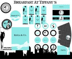 Breakfast at Tiffany Party KIT by worldwideparty. Digital printable: $29.00