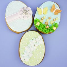 Decorated Easter egg shaped biscuits