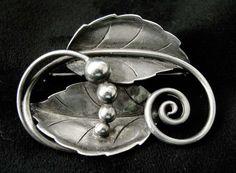Georg Jensen Sterling Leaf  Pin