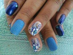 Different Blues With Floral Design