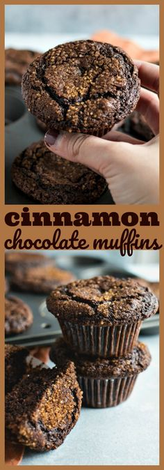 Chewy triple chocolate muffins are spiced with cinnamon and topped with cinnamon sugar for the perfect touch of crunch Easy Desserts, Delicious Desserts, Dessert Recipes, Yummy Food, Dessert Food, Muffin Recipes, Breakfast Recipes, Breakfast Items, Breakfast Dishes