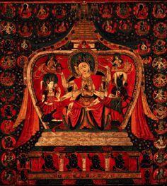Ushnishavijaya, one of the three Buddhas of longevity. Sakya, Gelug Lineages, Tibet. 1400s.