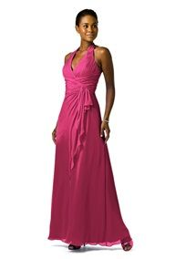 Bridesmaid Dresses by Color by David's Bridal    Soft Crinkle Chiffon Halter with Draped Cascade Style F12688  in Watermelon