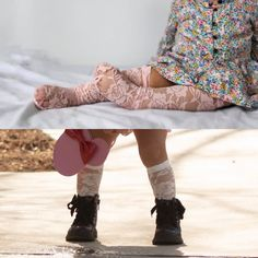 fde3ffc30d4 Lace Knee High Socks - Baby and Toddler Knee High Socks- white - Pink