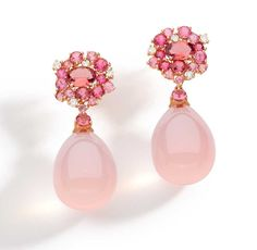 Brumani Baobab Rose collection earrings in rose gold with round diamonds, pink quartz and pink tourmaline.