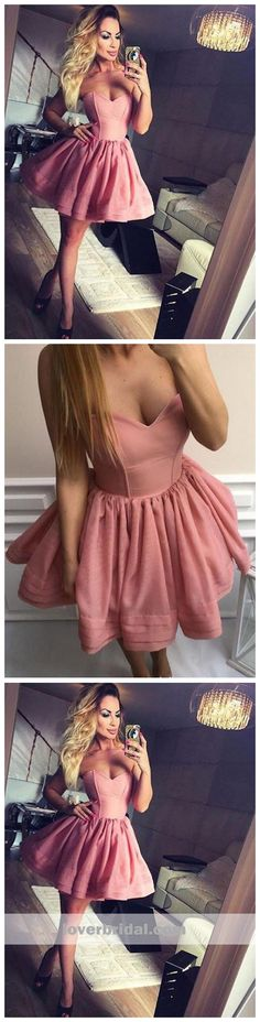 Sweetheart Pink Simple Cheap Short Homecoming Dresses Online, CM628 #homecoming Simple Homecoming Dresses, Cheap Prom Dresses, Dresses Online, Strapless Dress, Bridal, Lace, Womens Fashion, Pink, Hollywood