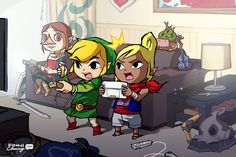 Hylia's Art Loft - Medli, Link and Tetra (and Makar who's playing ds in the back)