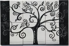 Modern backsplashes add more harmony to the entire house design and well selected materials make homes more attractive and increase their values. Black Tree Wall Decal is a hand painted panel of tiles 60x40 cm, approx. 23.6x15.7 inches. The collage consists of 6 tiles each of 20x20 cm, 8x8 inches. Our Ceramic Glazed Tiles are traditionally used to cover walls where they are used in finishing kitchens, bathrooms, benches, decorative panels, floor applications, pools, fountains, fireplaces,...