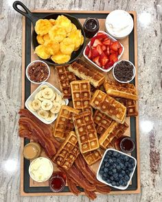 "Maegan Brown on Instagram: ""another Wednesday, another waffle board! 😜 I finally thought to cut the waffles in half so we can try a few different topping combos rather…"""