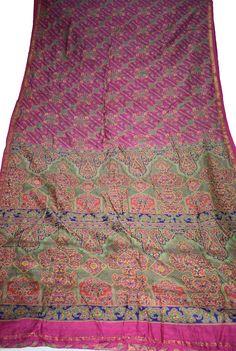 Indian Culture Vintage Saree 100% Pure Silk Floral & Paisley Golden Zari Border Printed Pink Sari Fabric Craft