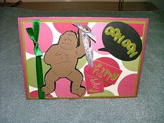 """http://myscrapbookandcards.blogspot.com  This Birthday card is 5x7"""".  The Gorilla and sound is from the Animal Kingdom Cricut Cartridge."""