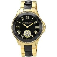 Vince Camuto Watches Crystal Accented Ceramic & Stainless Steel Bracelet Watch