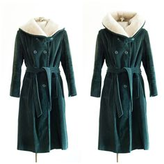 Green corduroy belted overcoat with wooly liner by TimeTravelFashions on Etsy
