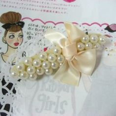Faux-Pearl with Bow Barrette Lois Hill Jewelry, Discount Jewelry, Barrette, Brooch, Bows, Pearls, Brooch Pin, Arches, Bowties