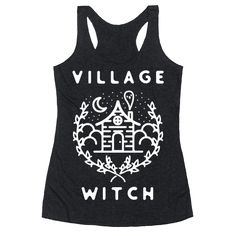 """Village Witch - Are you a witchy women handing out spells and talisman to the locals? Then this design is for you. This witchcraft inspired design features an illustration of a spooky house with a ghost coming out of the chimney along with the phase """"Village Witch."""""""