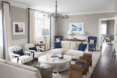 Living Room: White with Royal Blue Accents