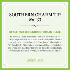 Tip #33: Reach for the correct bread plate < Secrets to Southern Charm - Southern Living Mobile