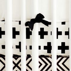 Black Swiss Cross Baby Bedding | Black and White Crib Sheet