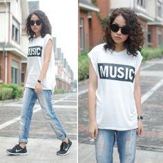 Meijia S - Choies Music Teec, Mango Ripped Jeans - Music sporty