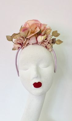 This item is unavailable Pink Crown, Gold Crown, Floral Crown, Gold Fascinator, Flower Headpiece, Race Day Hats, Gold Tiara, Thing 1, Pink Petals