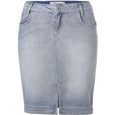 MAJE Light Blue Denim Skirt ($80) ❤ liked on Polyvore