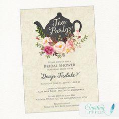 Tea Party Bridal Shower Invitation Teapot by InvitingInvites