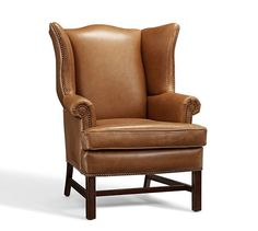 Thatcher Leather Upholstered Armchair, Polyester Wrap Cushions, Toffee