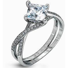 "Simon G. Princess Cut ""Twist"" Split Shank Diamond Engagement Ring ($1,540) ❤ liked on Polyvore featuring jewelry, rings, twist jewelry, 18 karat gold ring, 18k diamond ring, twisted engagement ring and 18k ring"