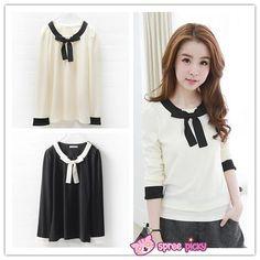 [S-3XL] Sweet Bow Long Sleeve T-shirt SP151789