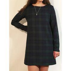 Green and navy tartan plaid shift dress available ANY length long sleeve classic Scottish Black Watch tartan dress sizes UK 16-22 US 12-18