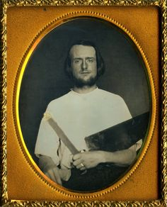 ca. 1850's, [daguerreotype portrait of a carpenter holding his crosscut saw & gold tipped T-square]