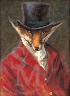 The Master. Funny dressed fox print by Mick Cawston Hunting Art, Fox Hunting, Fox Collection, Raven Art, Fox Print, Rock Art, Art Pictures, Fine Art Prints, Illustration Art