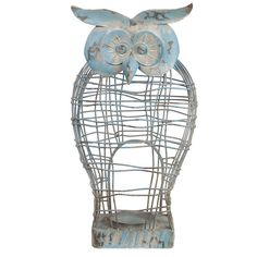 Distressed Blue Owl Metal Candle Holder ($40) ❤ liked on Polyvore featuring home, home decor, candles & candleholders, distressed candle holders, metal candleholders, blue home accessories, metal home decor and owl candle
