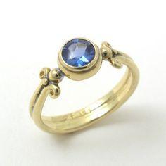 Caleb Meyer Studio Buff Top Blue Sapphire Column Ring;  Archive #2313