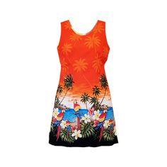 Parrot-Dise Orange Short Hawaiian Tank Floral Dress  #jesus #flipflop #jesussandal #sandal #jesussandals #palihawaii