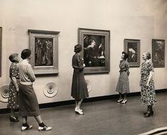 Ladies viewing Pre Raphaelite art at Delaware Art Museum circa 1938