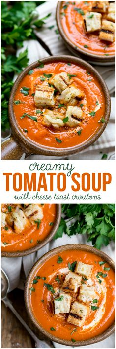 Creamy Tomato Soup with Cheese Toast Croutons - Sit down and enjoy a bowl of this smooth, creamy, flavourful soup for lunch. The grilled cheese croutons elevate this comfort food to a whole new level!