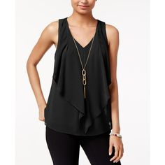 Bcx Juniors' Cutout Ruffled Necklace Tank Top ($39) ❤ liked on Polyvore featuring tops, black, flutter-sleeve tops, bcx, cut out tank, flounce tops and cutout tops