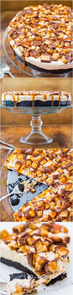 No-Bake Deep-Dish Peanut Butter Snickers Pie with Salted Caramel - The perfect pie: Peanut Butter, Chocolate, Loaded with Snickers and