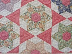 Gorgeous! Vintage 30-40s Pink Feedsack STAR QUILT ~ Never Used! | Only at Vintageblessings, on eBay