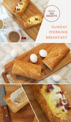 Awesome breakfast idea! Baked egg baguettes. Breakfast for dinner with turkey bacon? Or Morningstar sausage?