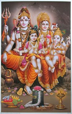Shiva, Parvathi, Ganesha, and Muruga Shiva Parvati Images, Shiva Hindu, Shiva Art, Hindu Deities, Hindu Art, Lord Shiva Hd Images, Lord Vishnu Wallpapers, Lord Ganesha Paintings, Lord Shiva Painting