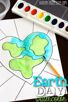 Earth Day watercolor painting project with EASY step-by-step directions