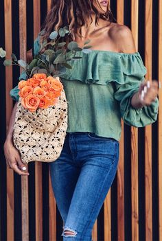 #Summer #Outfits / Ripped Pants + Off The Shoulder Green Blouse
