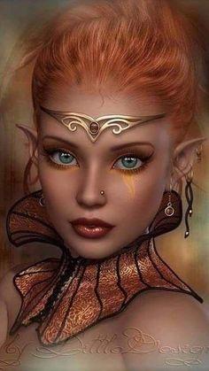 f Wood Elf Sorcerer Necklace Circlet portrait lg Fantasy Girl, Foto Fantasy, Fantasy Art Women, Beautiful Fantasy Art, Beautiful Fairies, Dark Fantasy, Character Portraits, Character Art, Elfen Fantasy