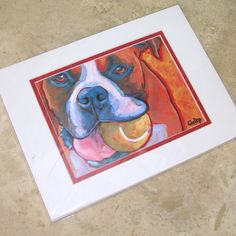 BOXER with Ball Dog Signed Art Print of Painting by colormutts, $25.00