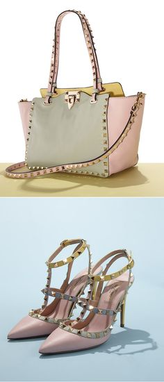 Take pink perfection with you wherever you go with the spring shoe & handbag collection by Valentino, featuring the Watercolor Rockstud Collection.