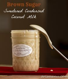 Brown Sugar Sweetened Condensed Coconut Milk: Make your own healthier (and vegan) sweetened condensed milk at home! Perfect for holiday baking, gifts or coffee creamer!