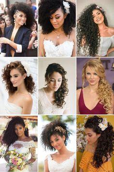 Penteados para casamento em cabelo cacheado e crespo Bridal Hairstyles With Braids, Veil Hairstyles, Wedding Hairstyles, Curly Bridal Hair, Boho Wedding Hair, Curly Hair Styles, Natural Hair Styles, Beauty Guide, Natural Curls